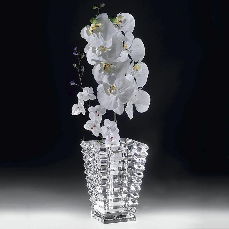 意大利 Ranoldi 花盆造型花瓶干花假花高纯度水晶花插花器 透明【国内仓】