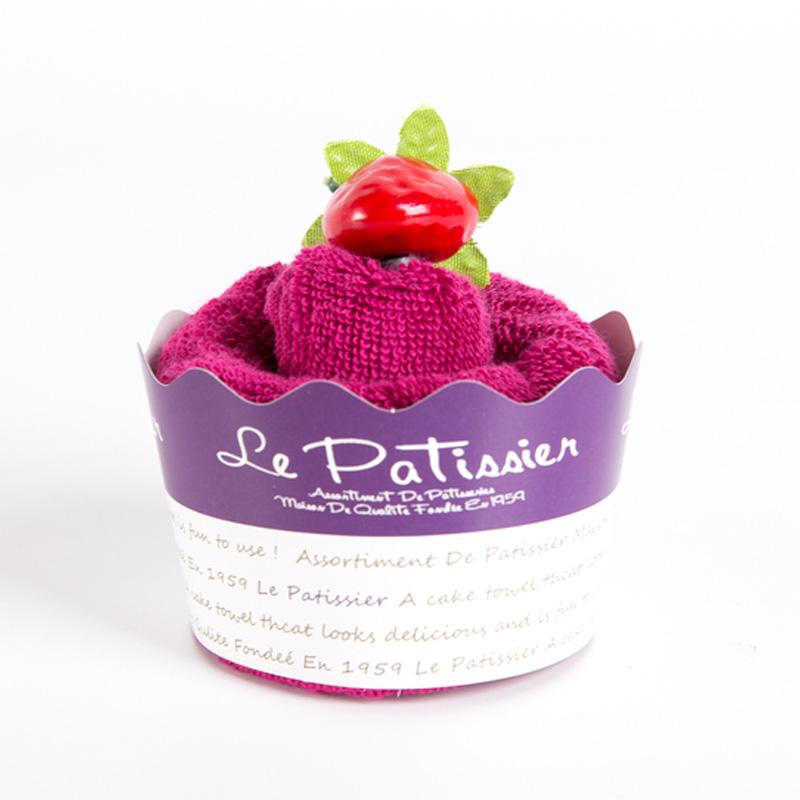 日本 Prairie Dog 纯棉毛巾 杯形蛋糕毛巾手帕25×25cm 紫色【国内仓】