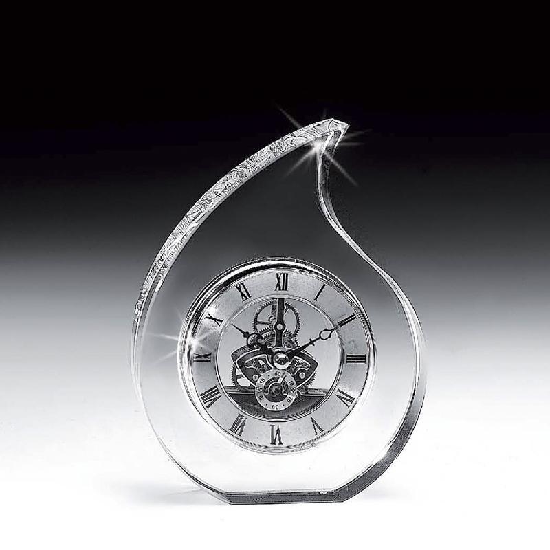 意大利 Ranoldi水晶摆件 水滴形时钟客厅静音钟表座钟摆件 透明【国内仓】