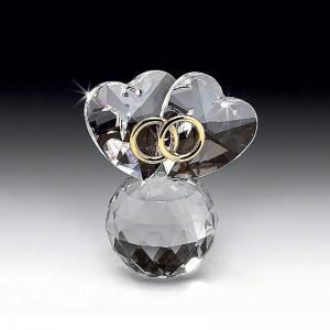意大利 Ranoldi水晶摆件 永结同心 球形爱心戒指摆件礼物 透明【国内仓】