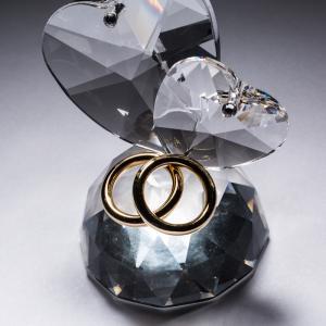 意大利 Ranoldi水晶摆件 永结同心 半圆爱心戒指摆件礼物 透明【国内仓】